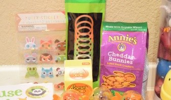 Easter Themed Stickers, Cheddar Bunnies, Reese's Eggs, Glow Sticks