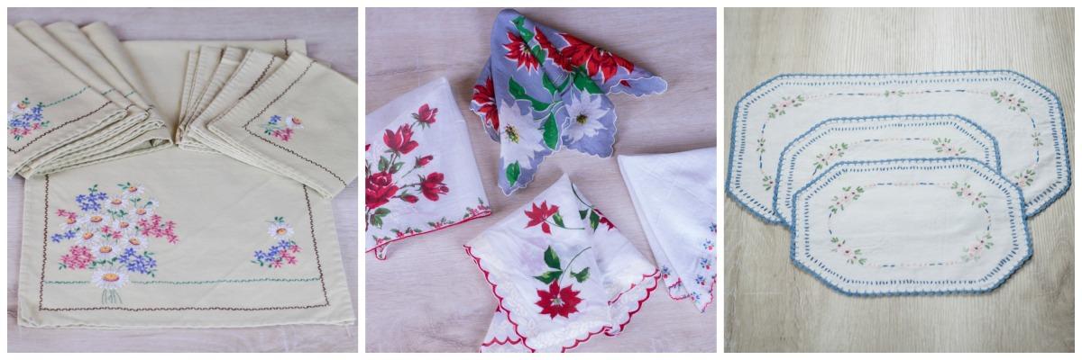 Vintage Handmade Embroidered Linen Sets